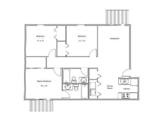 3 bedroom apartment floor plan image