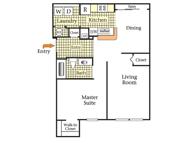 2D Floor Plan image for the One Bedroom One Bath Floor Plan of Property Cape Morris Cove