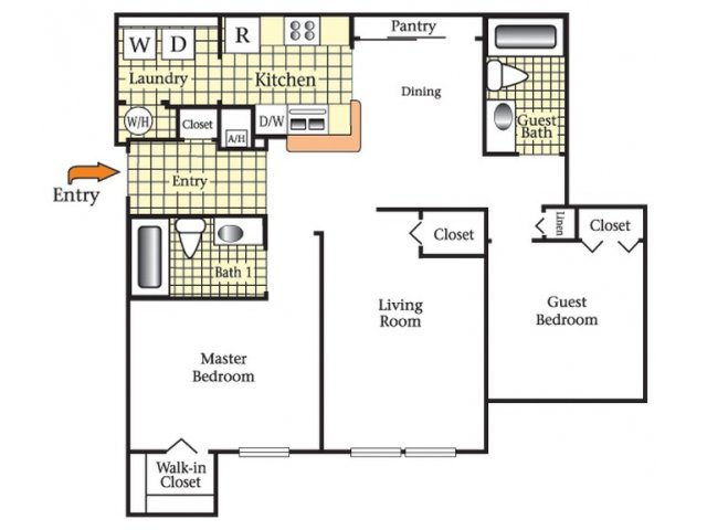2D Floor Plan image for the Two Bedroom Two Bath Floor Plan of Property Cape Morris Cove