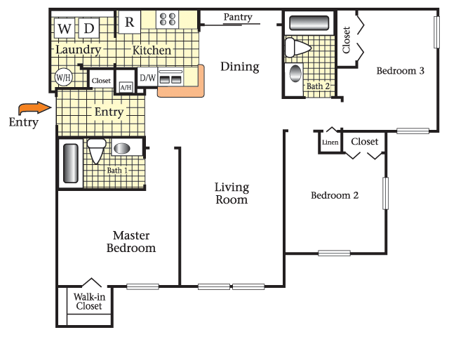 2D Floor Plan image for the Three Bedroom Two Bath Floor Plan of Property Cape Morris Cove