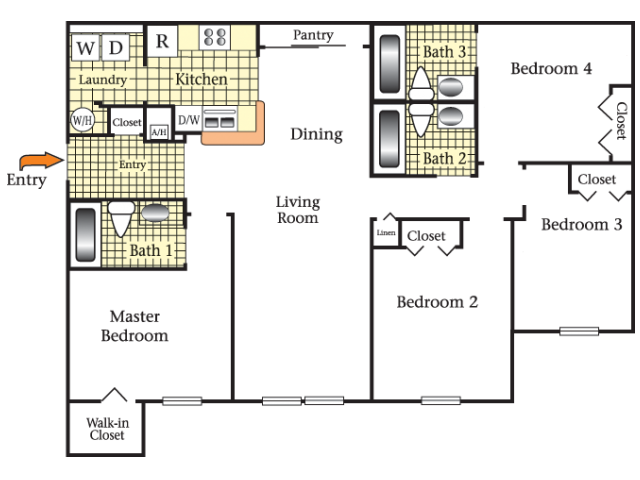 2D Floor Plan image for the Four Bedroom Three Bath Floor Plan of Property Cape Morris Cove