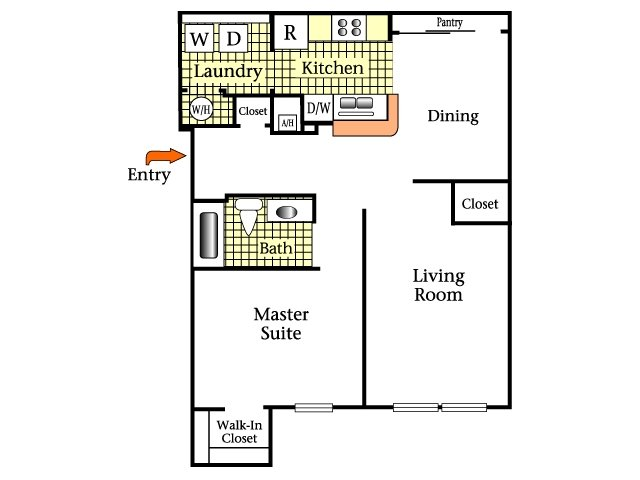 2D Floor Plan image for the One Bedroom One Bath Floor Plan of Property Oviedo Town Centre