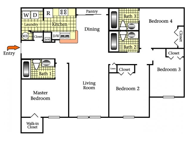 2D Floor Plan image for the Four Bedroom Three Bath Floor Plan of Property Oviedo Town Centre