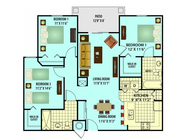 2D Floor Plan image for the Virginia Floor Plan of Property Village Park Senior