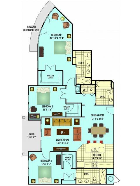 2D Floor Plan image for the Azalea Floor Plan of Property Village Park Senior