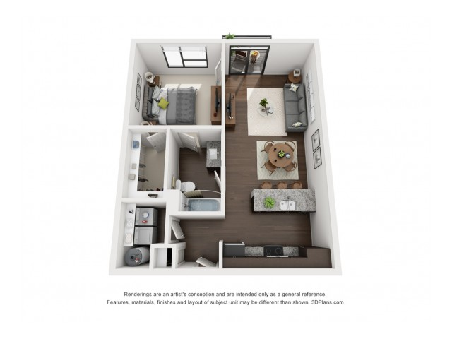 This one bedroom floor plan is located on all floors and includes an incredible view of the community courtyard.