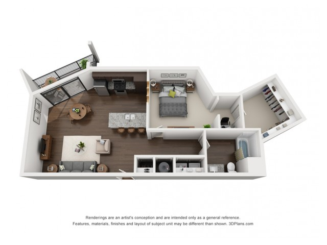 This elegant one bedroom floor plan is is available for you on the 3rd, 4th and 5th floor.