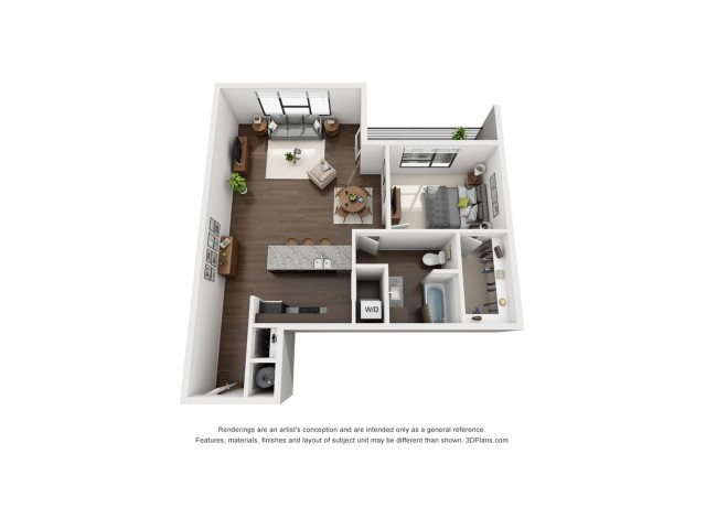 This beautiful open one bedroom floor plan is located on all floors with the option of a canal view.