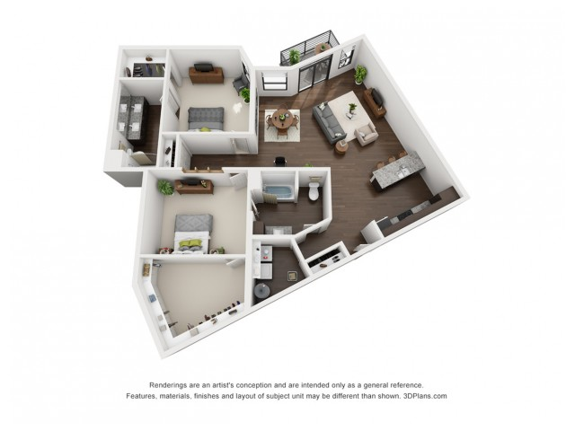 This massive 2 bedroom floor plan is perfect for you, located on the second floor.