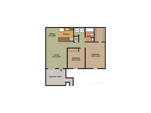 floor plan 2 columbus apartments abbington village - 3 Bedroom Apartments In Columbus Ohio