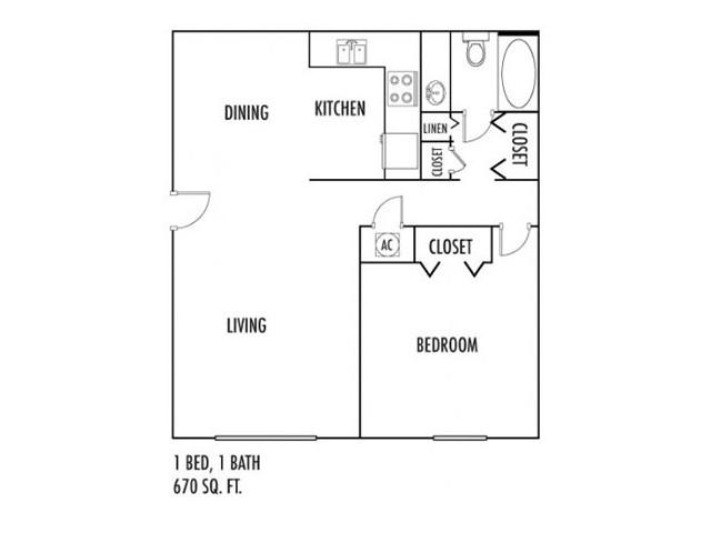 1 Bedroom Floor Plan | Rentals In Spartanburg SC | Hidden Park