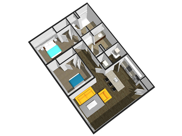 SoEL District Lofts - Floor Plan C 2BR/2BA