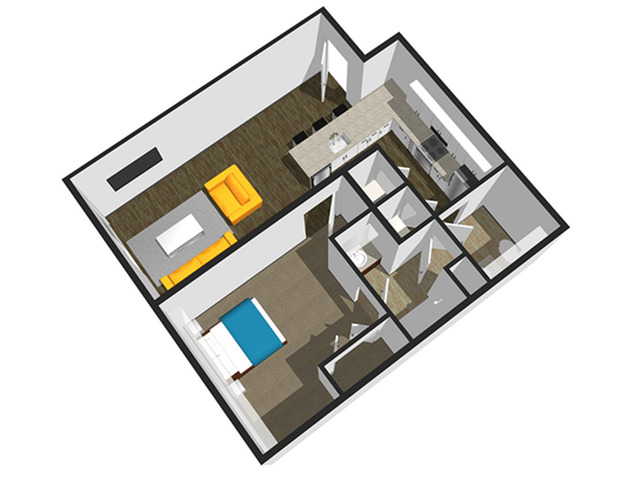SoEL District Lofts - Floor Plan D 1BR/1.5BA