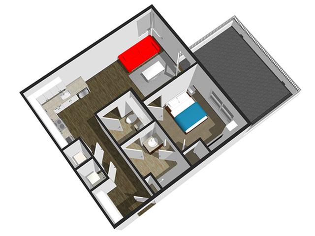 SoEL District Lofts - Floor Plan F 1BR/1.5BA