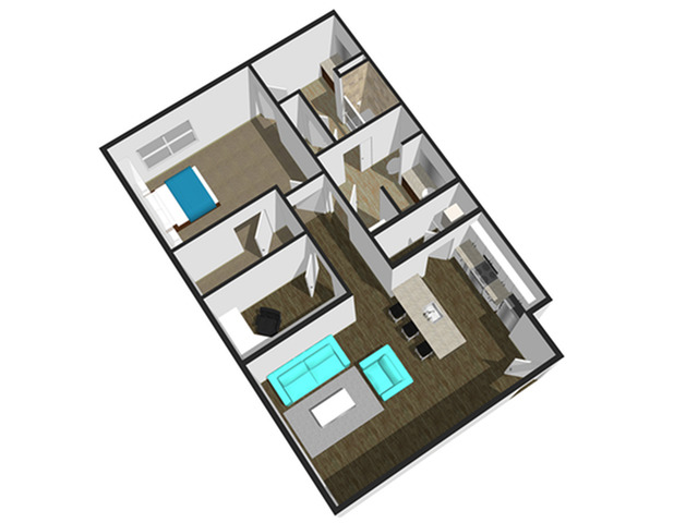 SoEL District Lofts - Floor Plan K 1BR/1.5BA