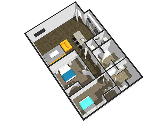 SoEL District Lofts - Floor Plan N 2BR/2BA