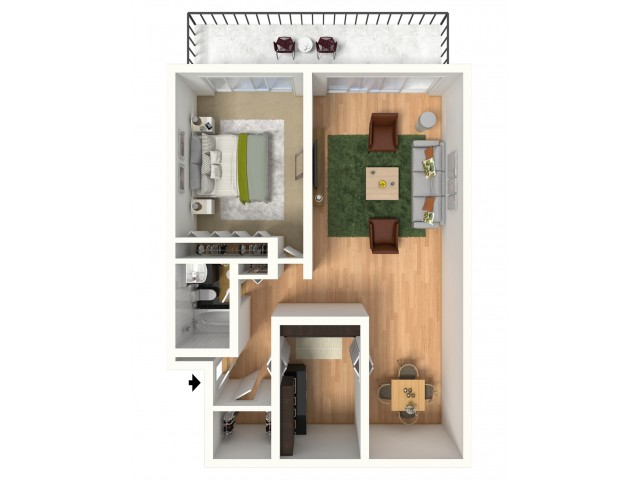For The One Bedroom 750 SQ. FT. Floor Plan.