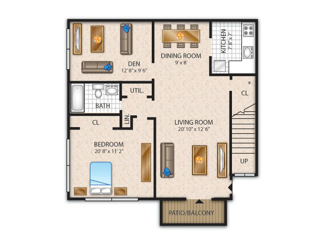 1 Bdrm Floor Plan | Flanders Apartments | Overlook at Flanders
