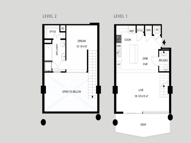The Lady Bird - Loft   1 bed 2 bath   from 963 square feet