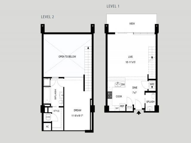 The Waterloo - Loft   1 bed 2 bath   from 1055 square feet
