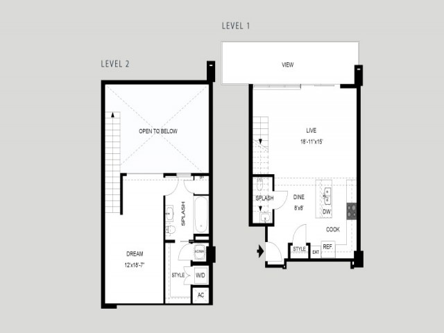 The Tower - Loft   1 bed 2 bath   from 1061 square feet