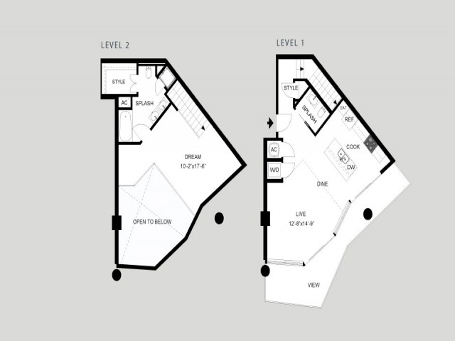 The Shores - Loft   1 bed 2 bath   from 1074 square feet