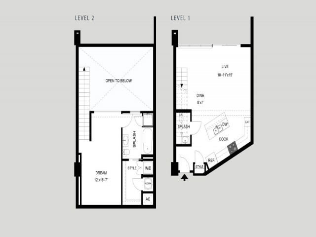The Bremond - Loft   1 bed 2 bath   from 1037 square feet