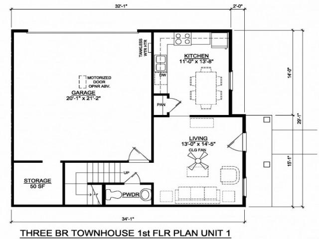 3 br townhouse 1 flr unit 1