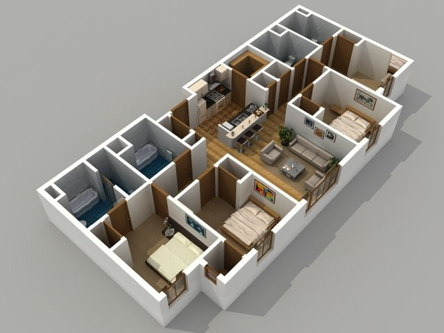 For The 4 Bedroom / 4 Bathroom Floor Plan.