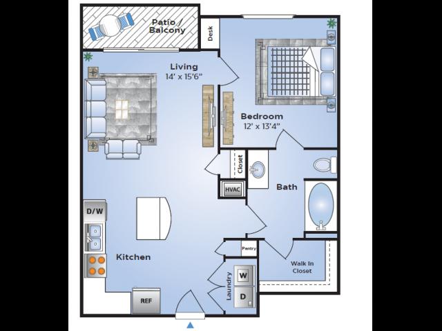 1 Bedroom Floor Plan | Luxury Apartments In Birmingham AL | Station 121