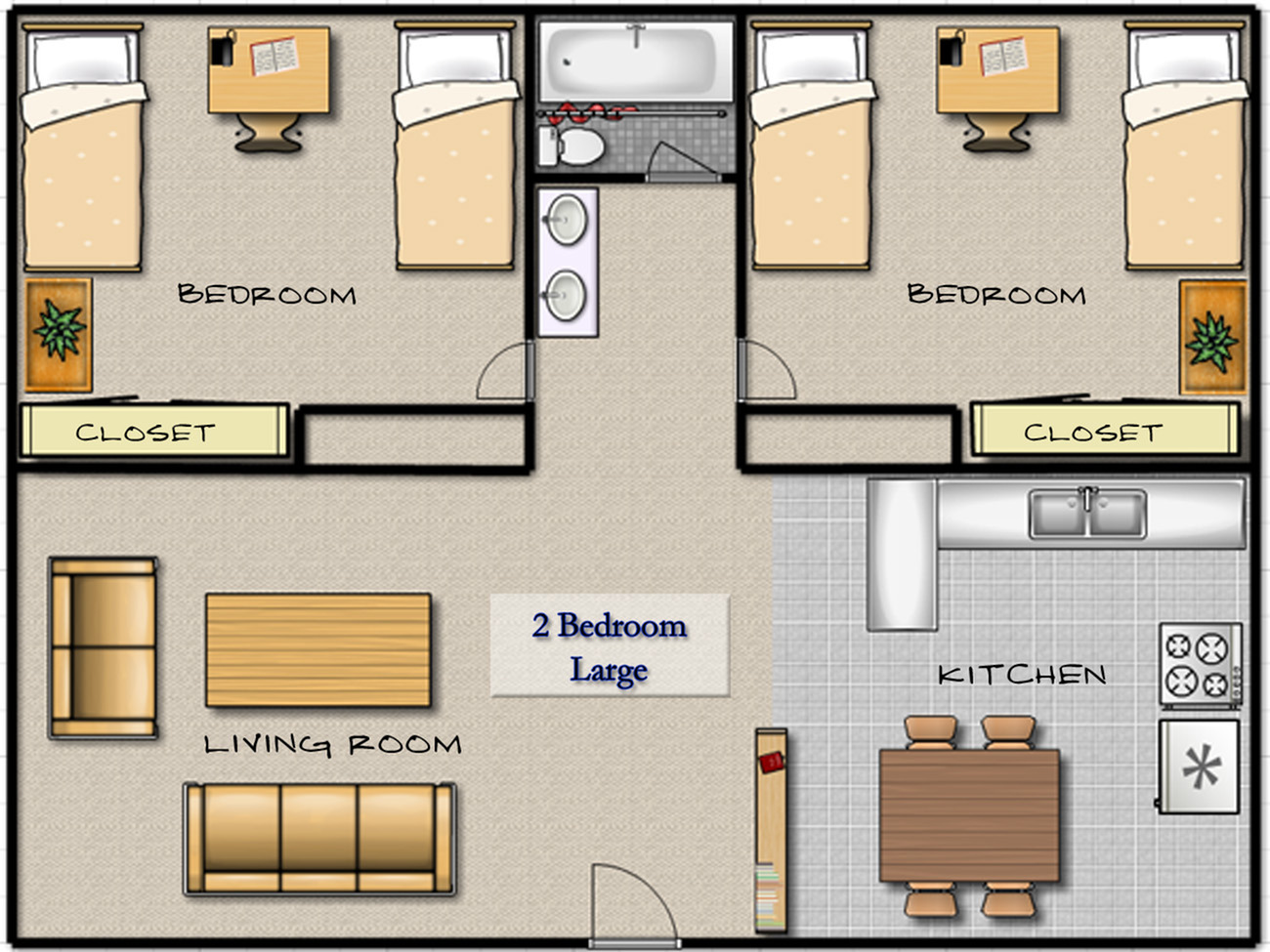 Large 2 Bed1 Bath Layout