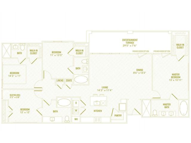 4 Bedroom Floor Plan | Apartments Rowlett Texas | The Towers at Bayside