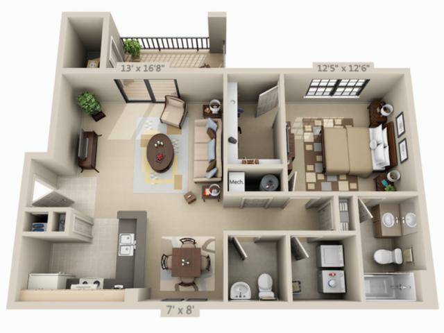 1 Bedroom 1.5 Bath Apartment | 1 Bed 1 5 Bath Apartment In Birmingham Al Lakeshore Ridge Apartments