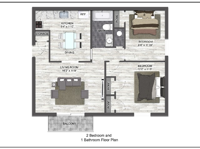 2 Bed 1 Bath | Frontier Apartment