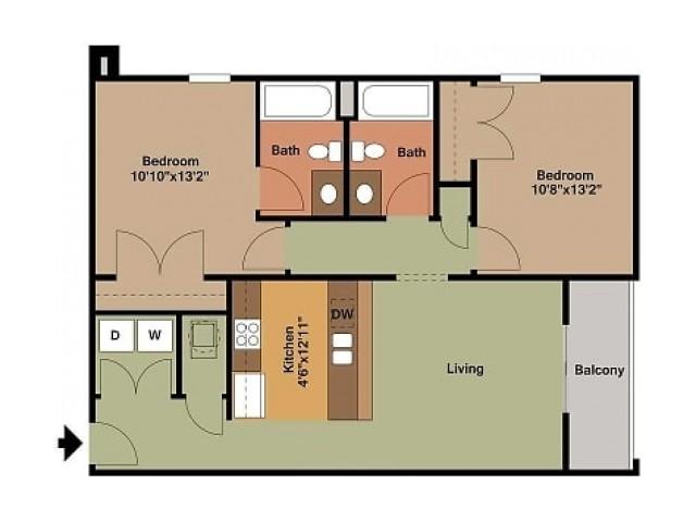 2 Bedroom, 2 Bathroom Market Street Floor Plan 2D