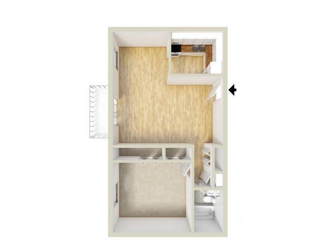 Standard one bedroom floor plan