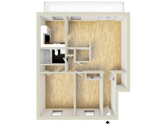 Two bedroom, lower level floor plan