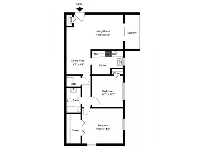 2 Bed 1 Bath Apartment In Newark De Oaktree Apartments