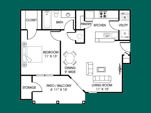 One Bed/ One Bath 641 sq.ft.