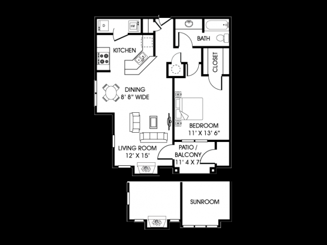 One Bed/ One Bath with extended bedroom. 827 sq. ft.