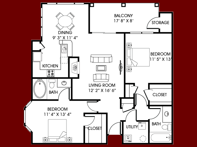 Two Bed/ Two Bath 1140 sq. ft.