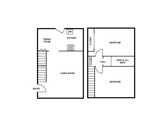 2D Floor Plan image for the 2 Bedroom Townhome Floor Plan of Property Warringwood Heights