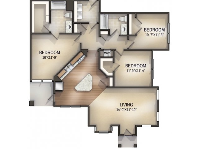 Herringbone I Unfurnished Floor Plan