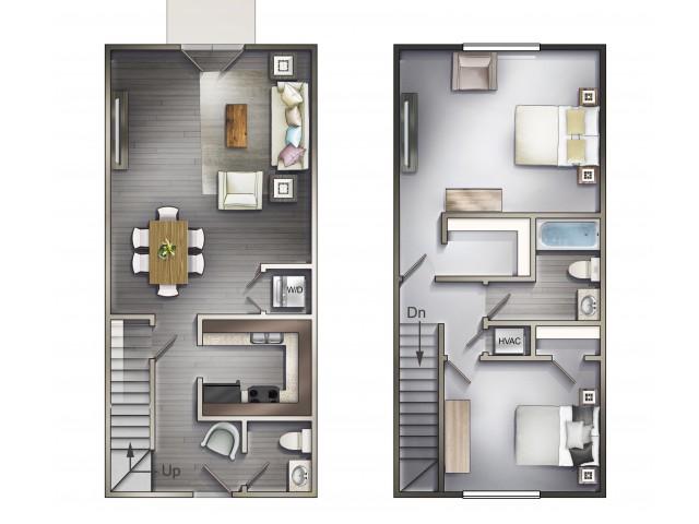 2 Bed 1.5 Bath Townhome - 1005 sqft