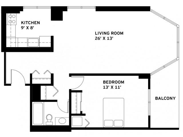 One Bedroom Floor Plan J