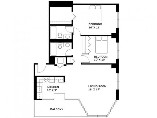Two Bedroom Floor Plan G