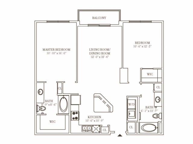 2 Bedroom 2 Bath Residence M