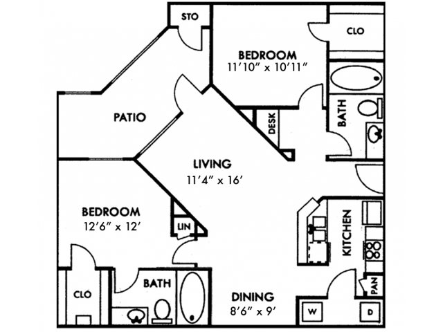 Escalante Apartment Homes, B1 Floor Plan