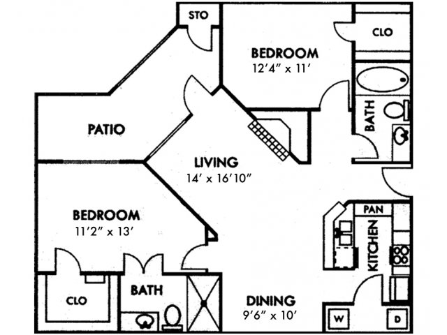 Escalante Apartment Homes, B2 Floor Plan