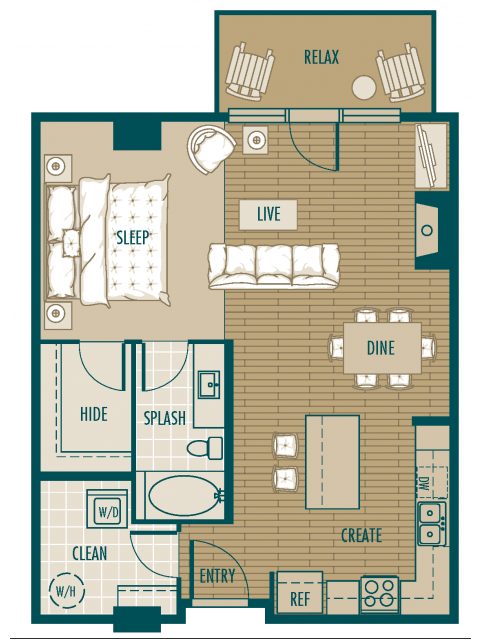 A24 Betasso Floor Plan- It is a 1/1 on the 4th Fl